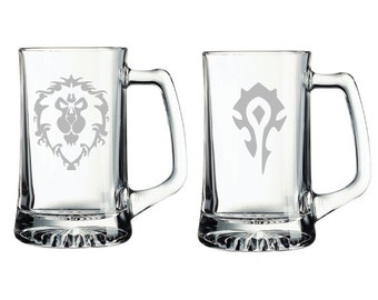 1ea World of Warcraft Alliance/Horde Etched Mugs Personalized WoW