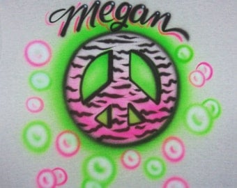 Airbrushed Zebra PEACE SIGN T shirt personalized youth and adult sizes