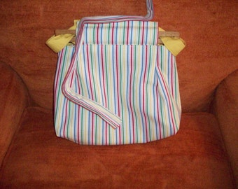 Reversible Striped Cloth purse/Yellow