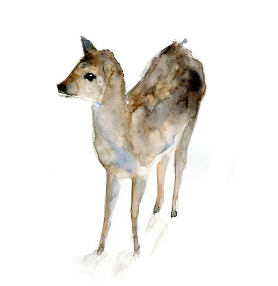 Fawn watercolor painting deer aquarelle animal painting for Dujardin franck