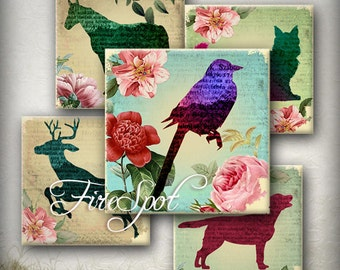 Vintage Flower Animal - Digital Collage Sheet 1.5inch,1 inch,25 mm,20 mm Square for Glass Pendants,Scrapbooking,Bottlecaps,Charms