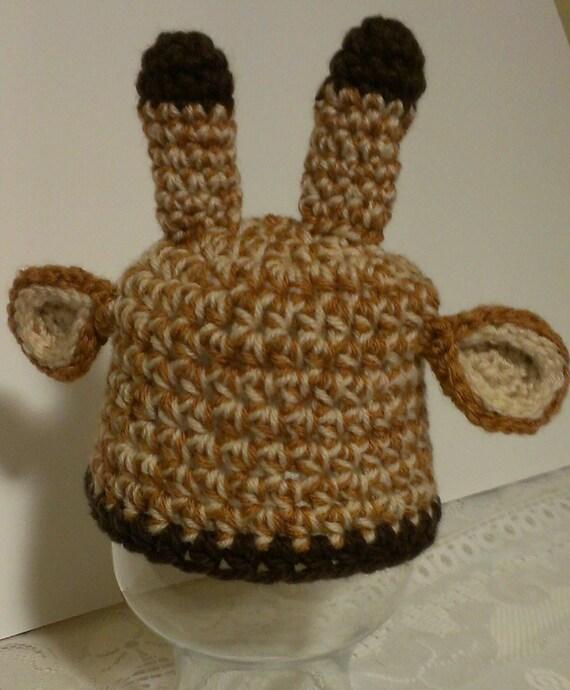 Crochet Pattern Giraffe Hat : Items similar to Newborn Baby Crochet Giraffe Hat, Giraffe ...
