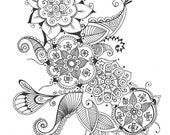 8x10 Art Print Bouquet Of Flowers Henna Floral Ink Drawing Wall Room Decor Printsperfect