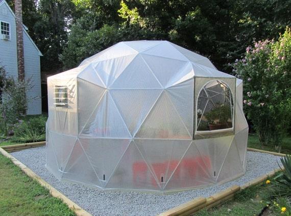 hnliche artikel wie 16 ft geod tische kuppel gew chshaus kit custom vinyl cover mit est. Black Bedroom Furniture Sets. Home Design Ideas