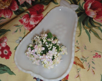 Pear Shaped MILK GLASS DISH with Inner Fruit Motif & Outside Floral Design