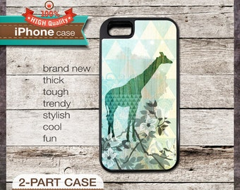 Giraffe and Flowers on Mint Color iPhone 6, 6+, 5 5S, 5C, 4 4S, Samsung Galaxy S3, S4 ART 73