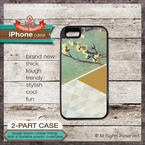 iPhone 5 Case Pastel Geo Design No. 4 with Green, Mustard and Flowers - Design Cover 159