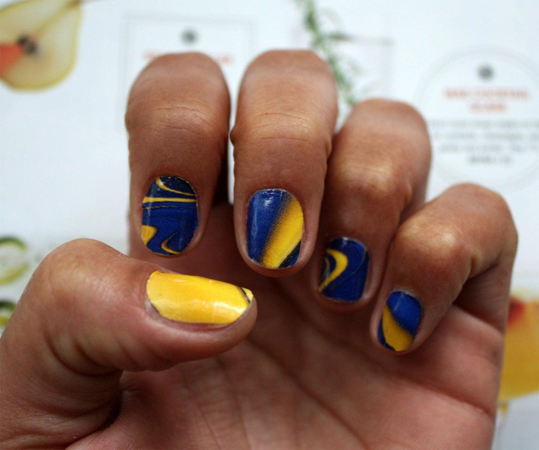 Marble Nail Art Blue: Items Similar To Blue And Yellow Water Marble Nail Art