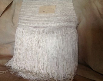8 inch Chainette Fringe (100 percent Rayon) Winter White Made in Italy Sold by the yard