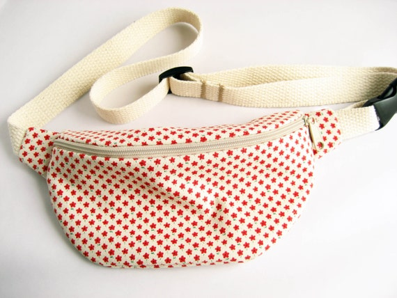 Cream with Little Red Flowers Print Fanny Pack
