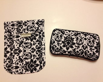 BLACK & WHITE DAMASK Diaper and Wipes Pouch with Matching Wipes Case