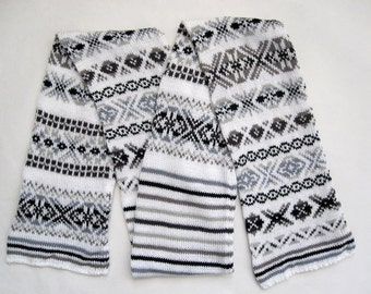 Black and White Cotton Knit Fair Isle Scarf