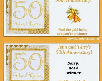 50th Anniversary party favors scratch off tickets-set of 10