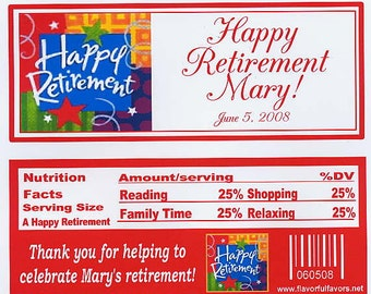 Retirement party favors candy wrappers in red or blue