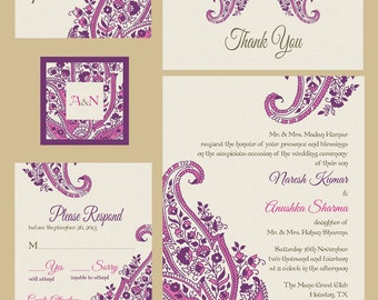 Paisley Motif - Pink - Indian Wedding Invitations