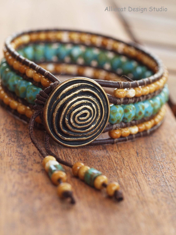 beaded leather wrap bracelet row wrap bracelet boho