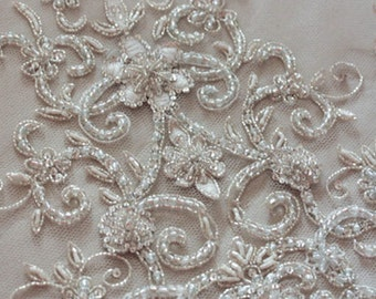 Couture Wedding Veil Heirloom Veil in Ivory  - Silver (Made to Order)