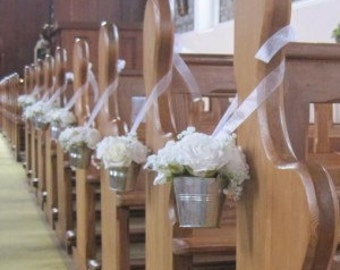Wedding ivory rose pew ends, church décor, table centrepieces, silver bucket with roses and chiffon ribbon to hang