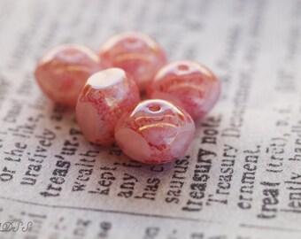 10 Rose 7x6mm Quadries Czech Glass Beads (N410)