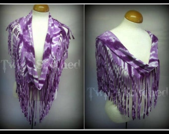 Upcycled fringed Infinity T-shirt scarf