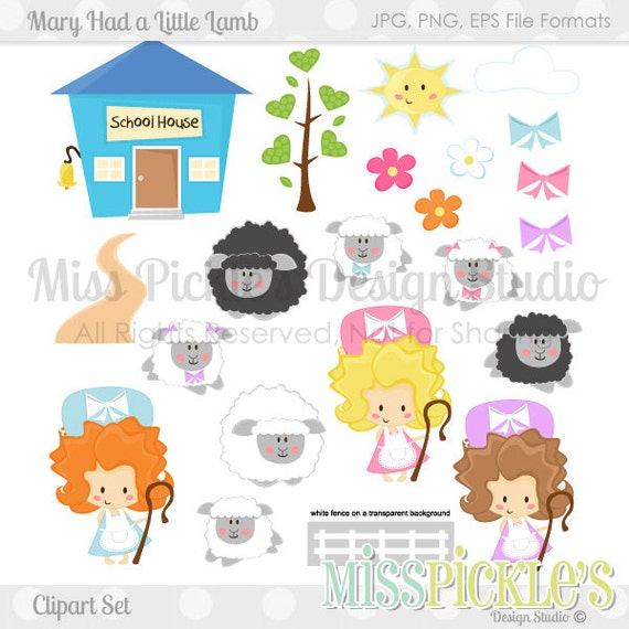 Mary Had a Little Lamb Clipart Set by MissPicklesGraphics ...