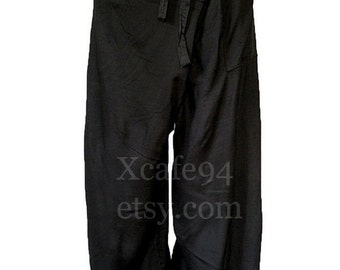 Thai Fisherman Wrap Pants Trousers Rayon Yoga Massage Maternity Black