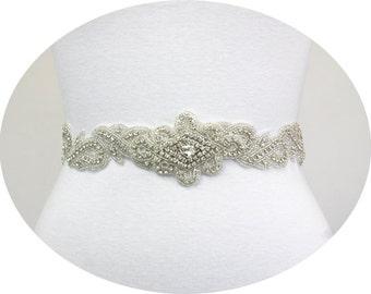 LACY - Crystal Rhinestone Sash, Rhinestone Wedding Sash, Bridal Belts, Bridal Beaded Sash