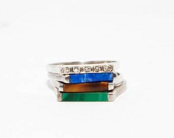 Thin Bar Tiger Eye Ring