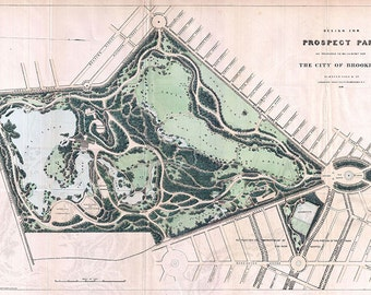 Prospect Park Brooklyn New York Antique Vintage Map Print (1868)