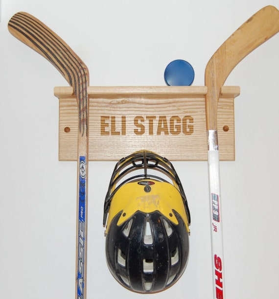 Hockey Stick Trifecta Rack: Laser Etched Personalized Hockey Stick Display Rack With Puck