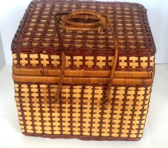Picnic Basket Items : Items similar to reduced wicker picnic basket with dishes