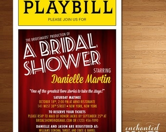 Broadway Playbill Invitations- Theater, NYC Theme - Bridal Shower, Sweet Sixteen or Themed Parties -Printed Invites or Printable Invitations