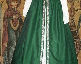 FREE SHIP Medieval Renaissance Gown SCA Garb Costume Forest Green Irish Styl Overdress SzFlex lxl