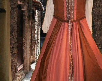 FREE SHIP Sweet Peach Chocolate Renaissance SCA Garb Medieval CostumeBodice & Overskirt 2Pc lxl