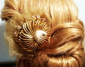 Art Deco Gold Hair Comb