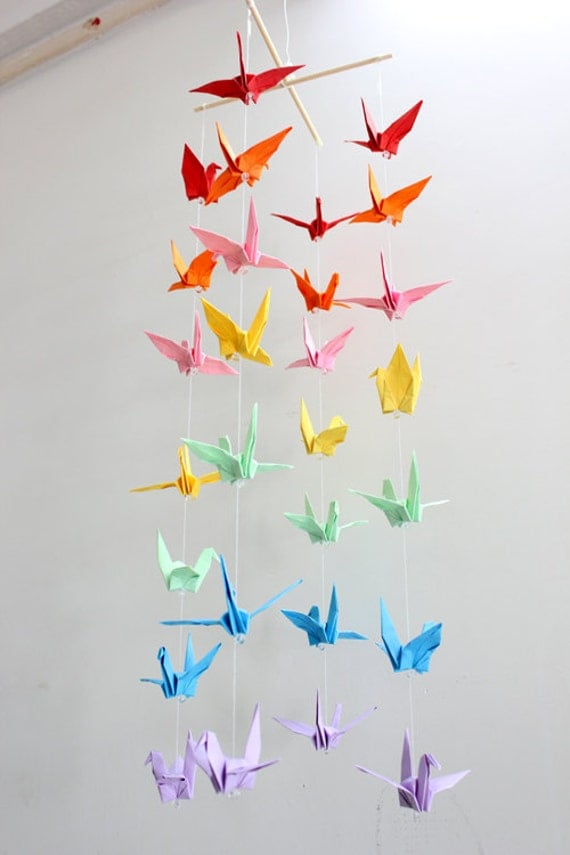 baby crib mobile origami paper crane amazing colorful rainbow. Black Bedroom Furniture Sets. Home Design Ideas