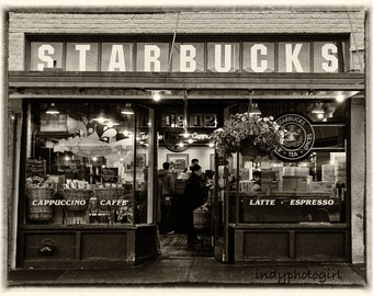 The First Starbucks in Seattle Washington 5x7 Photograph vintage look