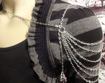 Dark Silver Cascading Shoulder Chain Necklace