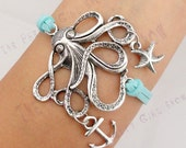 Octopus Bracelet with Starfish and Anchor Charm in Silver- Customize Your Own Style - friendship bracelet -bridesmaid gift
