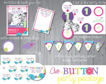 Cute as a button Party Printables, button printables, DIY Party Package