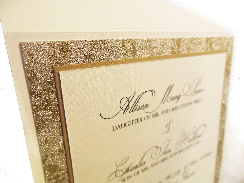 Ivory Wedding Invitations: Ivory & Gold Wedding Invitation Custom Pocketfold Wedding