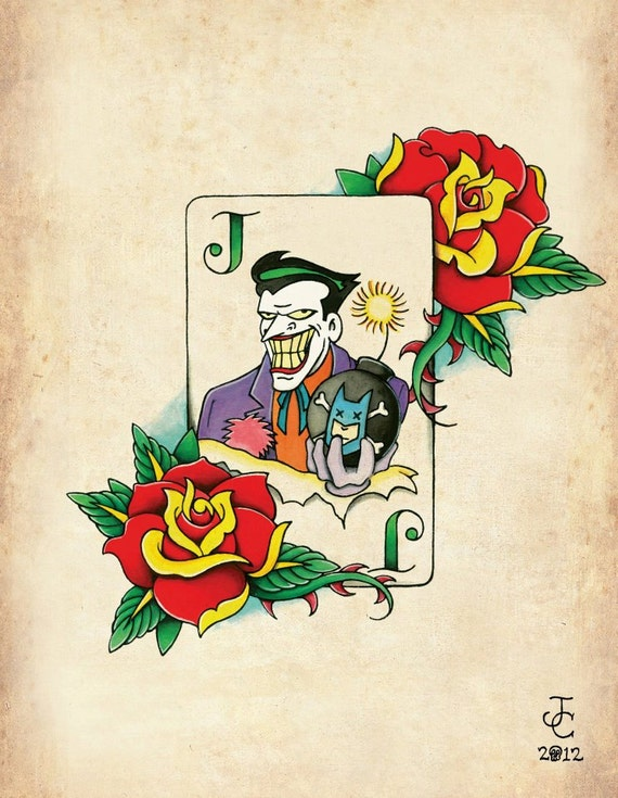 Batman Joker Card Tattoo Items similar t...