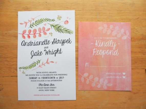 Watercolor Forrest Foliage Wedding Invitation Sample