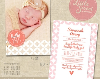 5x7 Birth Announcement Template (Baby Announcement) - Photoshop Template for photographers (BA7G) - INSTANT DOWNLOAD