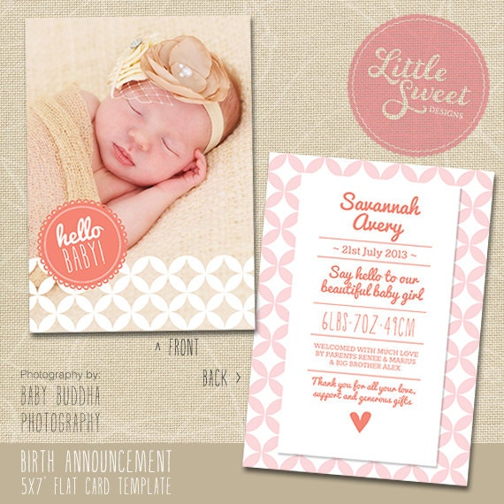 5x7 birth announcement template baby announcement