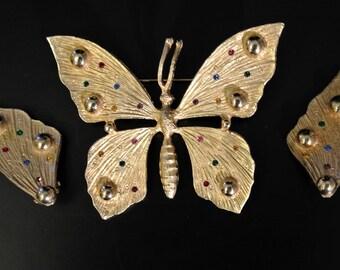 Vintage rhinestone butterfly brooch and earrings