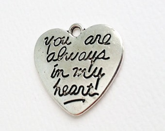Charm 'You are always in my heart' Silver Pendant - 5 pieces