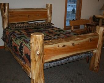 CEDAR LOG BED- Cedar Slab Bed - Queen Log Bed