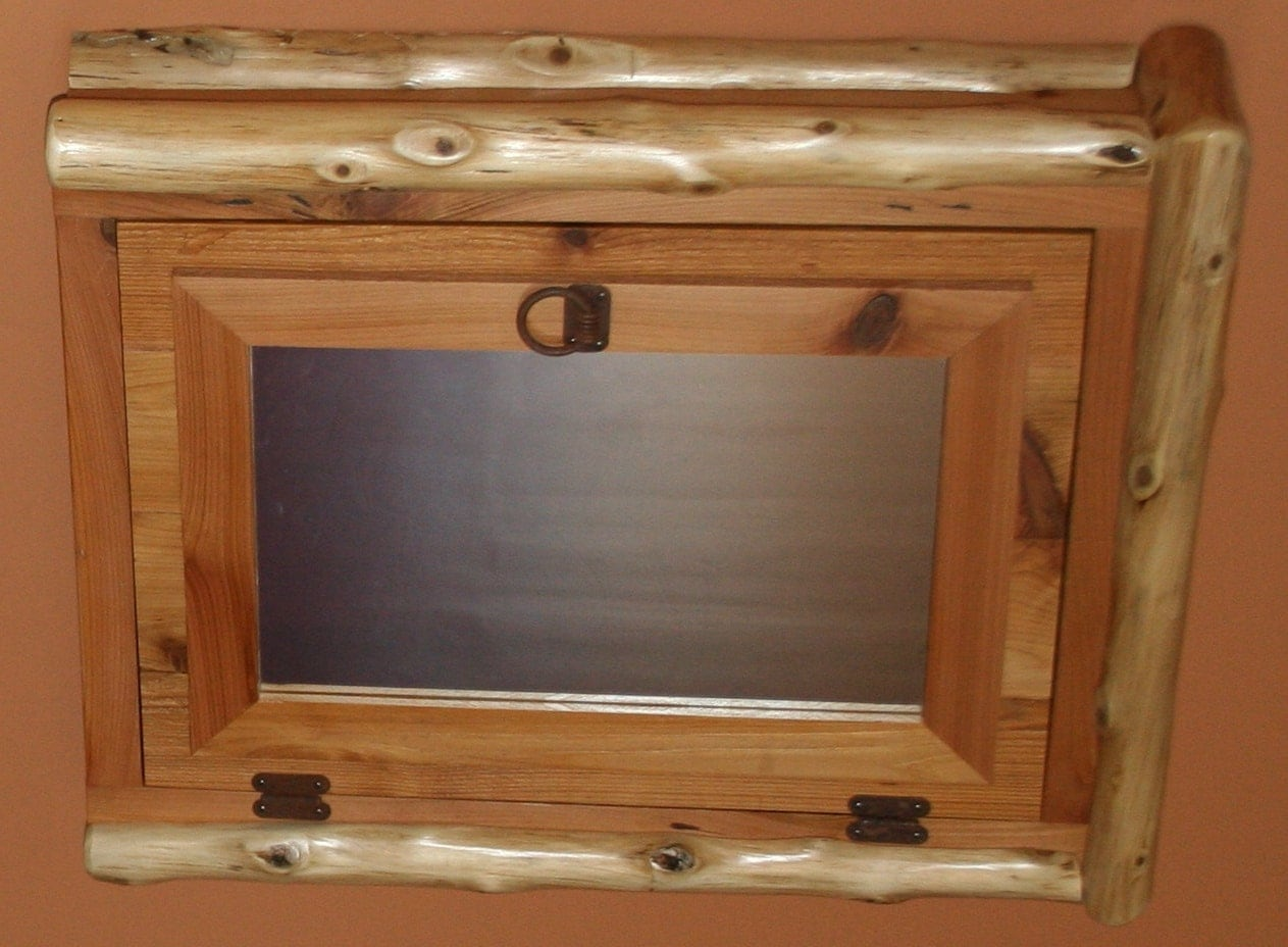 Cedar Log With Reclaimed Wood Medicine Cabinet