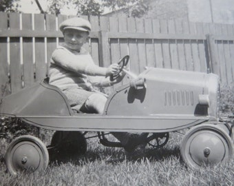 Vintage 1930's Little Boy In His New Pedal Car Snapshot Photograph - Free Shipping